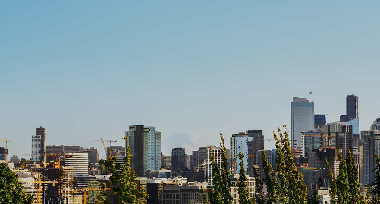 View of Seattle with Mt. Rainier
