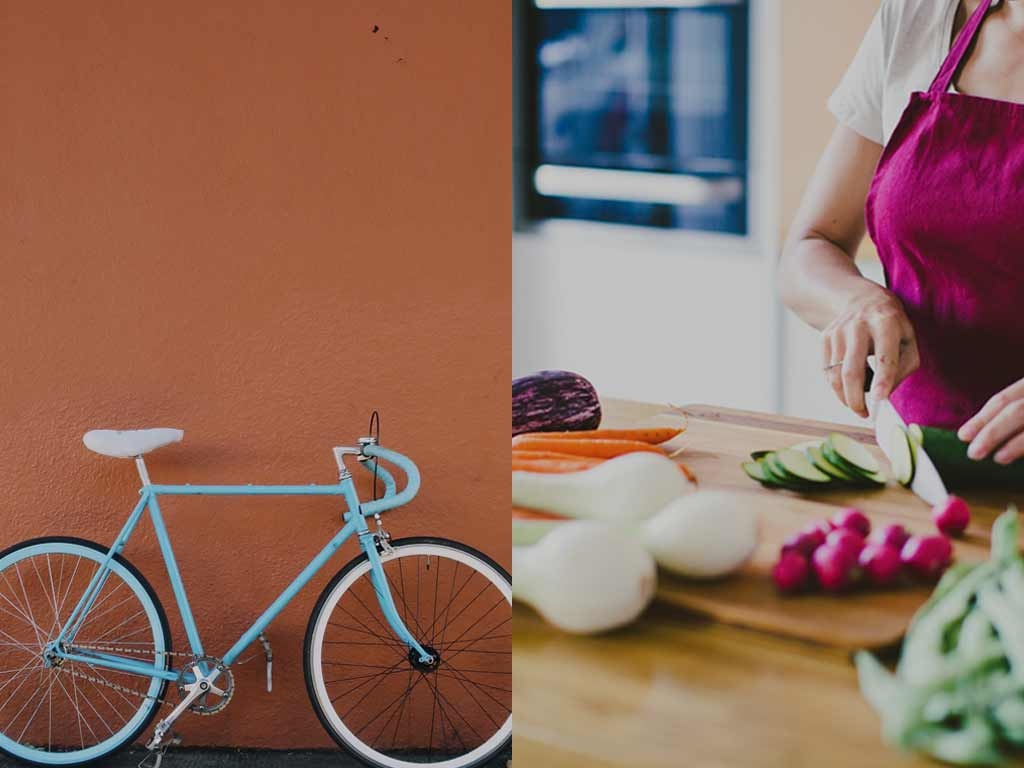 Split photo of bicycle and woman chopping vegetables