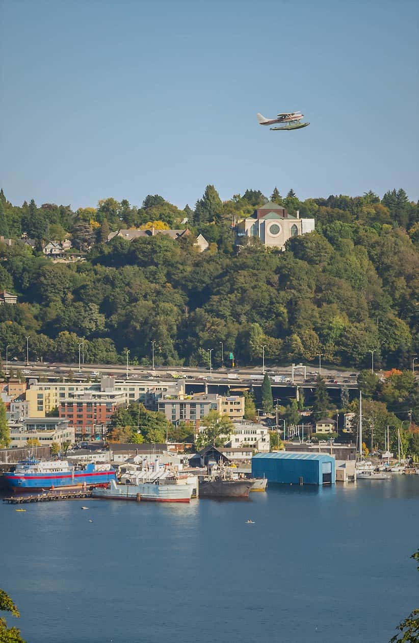 View of Lake Union from The Eden with seaplane in the air above