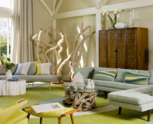 artistic room decor with driftwood, modern sofa, and colorful pillows