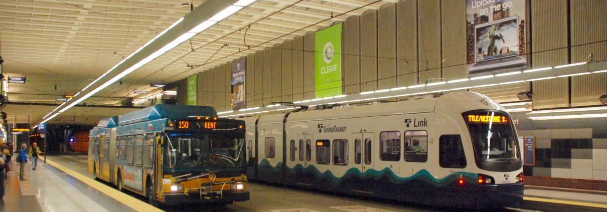 Seattle light rail and metro transit bus underground
