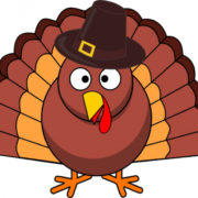 Thanksgiving turkey cartoon with pilgrim hat