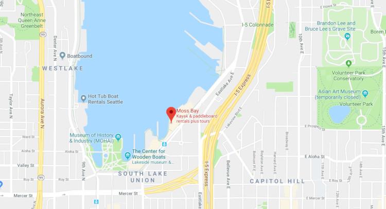 Moss Bay kayak rental on Google Maps south of Lake Union