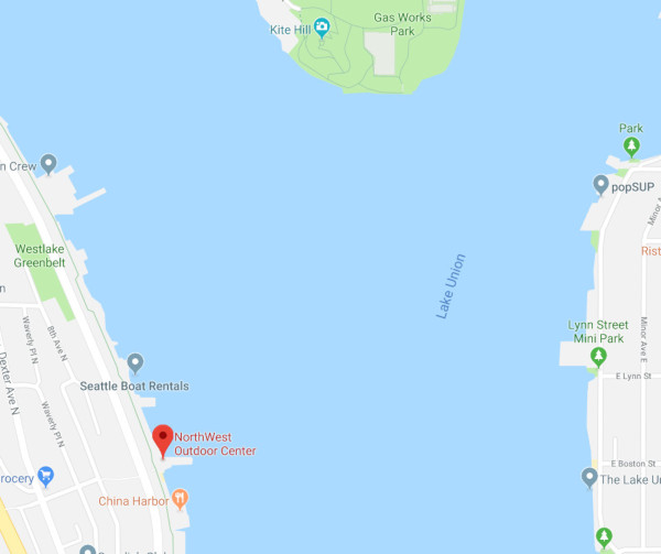 Northwest Outdoor Center on Google Maps east of Lake Union