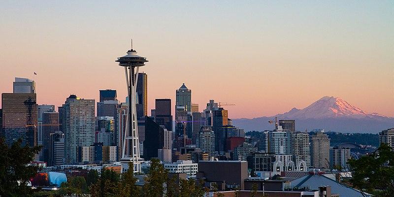 seattle skyline at dusk with sunset, space needle, Mt Rainier