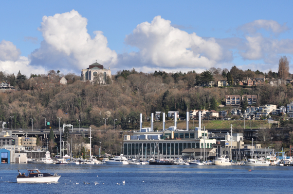 view of St Mark's Cathedral from Lake Union
