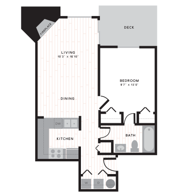 Blaine 1 bedroom apartment with large living room, three closets, and breakfast bar