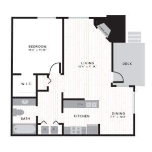 Nob Hill floor plan with one bedroom, walk in closet, 3 social spaces, and 1 bathroom